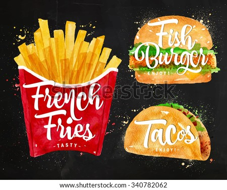 Set of french fries, fish burger and tacos drawing with color paint on chalkboard. - stock vector