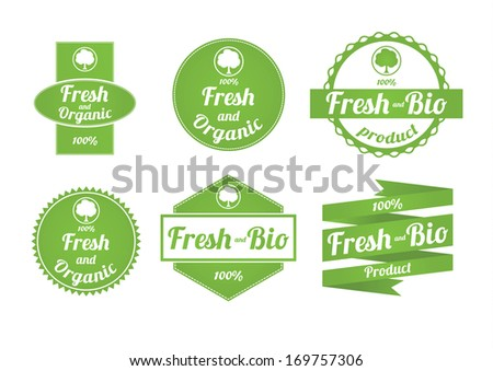 Set of fresh and organic labels - stock vector