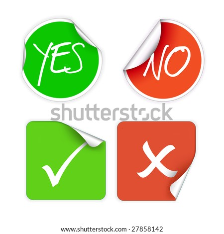 Set of fresh labels - yes, no, accept, cancel (vivid colors) - see my portfolio for more labels - stock vector