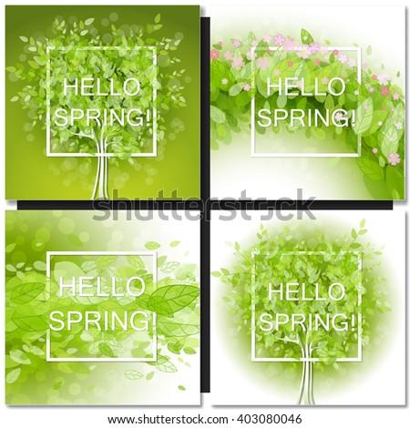 Set of Fresh spring green tree leaves frame template with white square frame. Hello Spring design vector illustration. Trendy Design Template. - stock vector