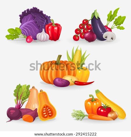 Set of fresh vegetables. Healthy food vector illustration background. - stock vector