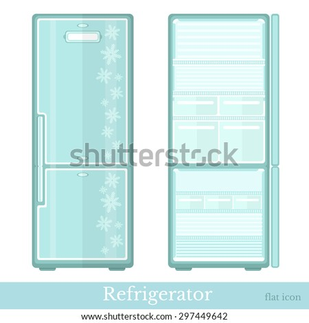 set of fridge empty with open doors and close doors. flat modern style isolated on white - stock vector
