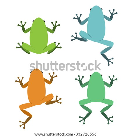 Set of frog  in flat style, vector - stock vector
