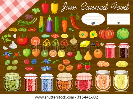 Set of fruit and vegetables for jam and canned food. Label. Vector illustration - stock vector