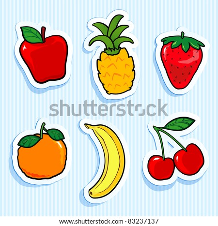 Set of fruit stickers. Vector icons - stock vector