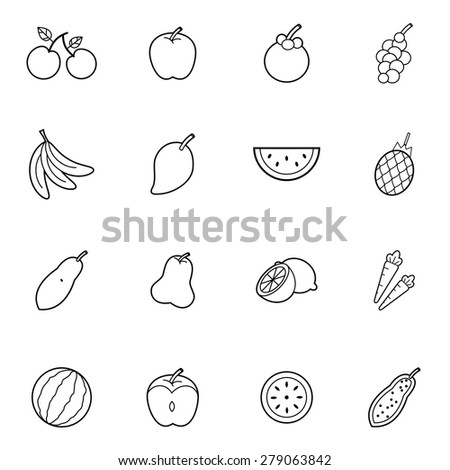 set of  fruit thin line icon style vector illustration