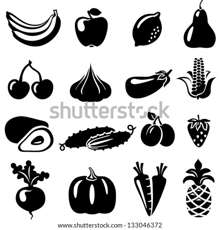 Set of fruits and vegetables: banana, apple, lemon, pear, cherry, pineapple, eggplant, corn, avocado, cucumber, plum, strawberry, beets, radish, garlic, carrots, pumpkin.