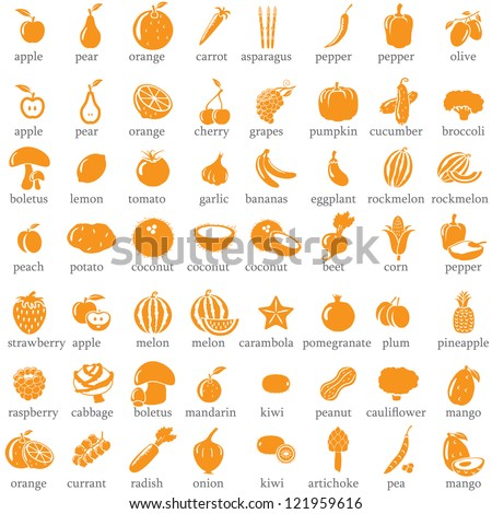 Set of fruits and vegetables icons - stock vector