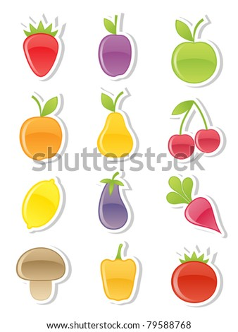 Set of fruits and vegetables. Vector illustration.