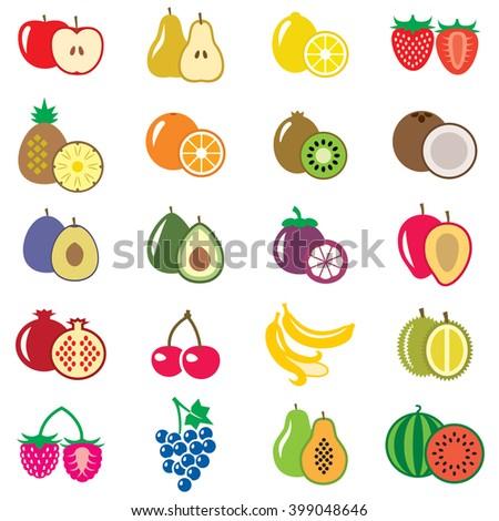 Set of fruits flat vector illustration - stock vector