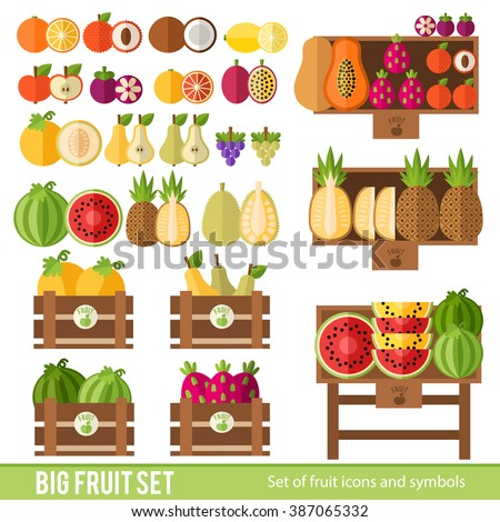 Set of fruits, fruit stalls and crates of fruit in a flat style. Market with juicy ripe fruit. Icons for environmental  organic store fruit. - stock vector