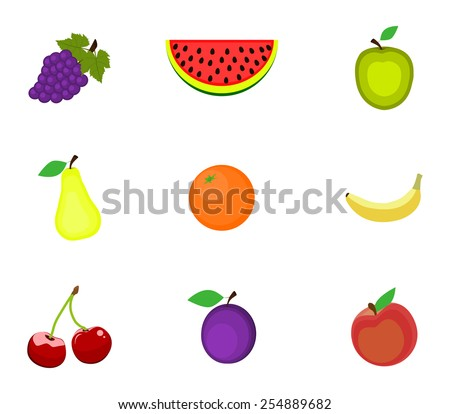 Set of fruits on a white background - stock vector