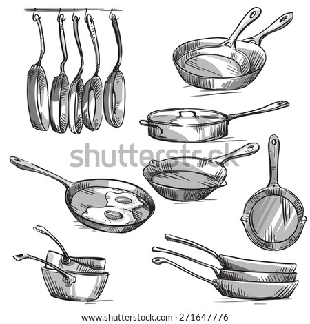 Set of frying pans  - stock vector