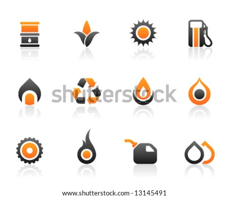 Set of 12 fuel environmental icons and graphics - stock vector