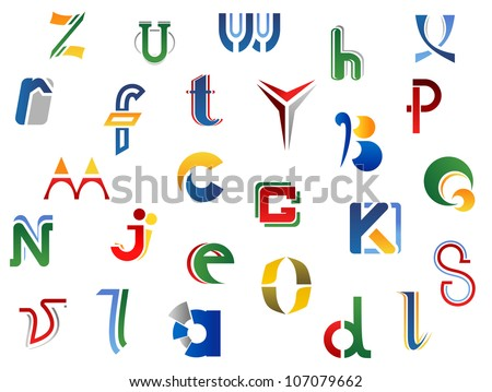 Set of full alphabet letters and icons for alphabet design, also a logo idea. Jpeg version also available in gallery