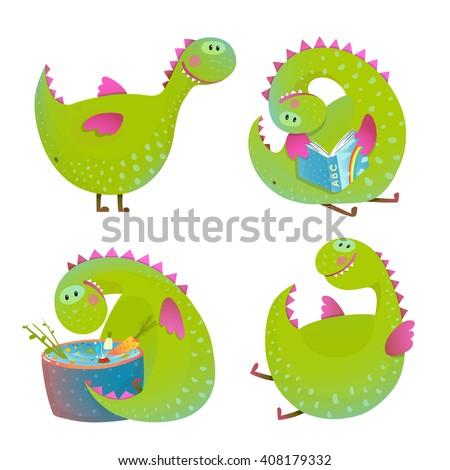 Set of fun cartoon dragons. Cartoon character monster for kids, funny happy dinosaur. Vector illustration. - stock vector