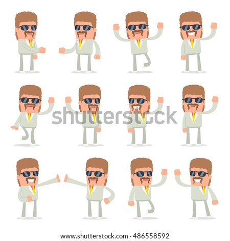 Set of Funny and Cheerful Character Impudent Reseller welcomes poses for using in presentations, etc.