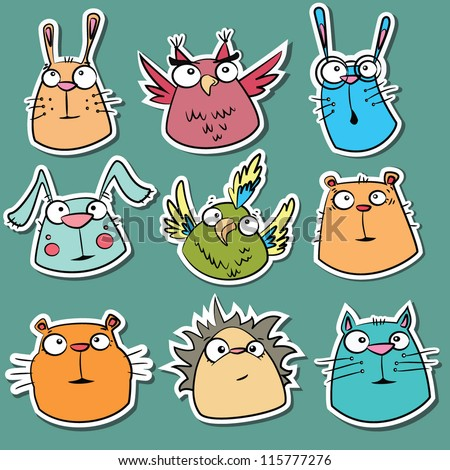 Set of funny animal stickers - stock vector