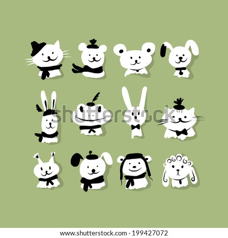 Set of funny animals for your design - stock vector
