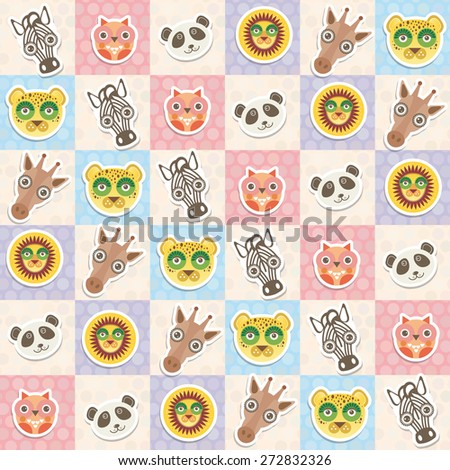 Set of funny animals muzzle owl panda giraffe lion zebra leopard seamless pattern with pink lilac blue square. Vector - stock vector