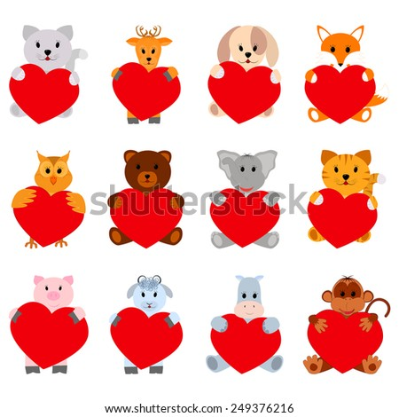 Set of funny animals with hearts for your disign. Can be used in the design of greeting cards for Valentine's Day  - stock vector