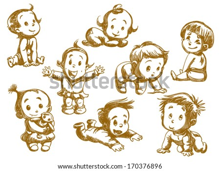 set of funny babies on a white background