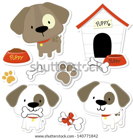 set of funny baby dogs and puppy elements like stickers, useful for many applications, your designs or scrapbooking projects - stock vector