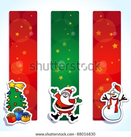 Set of funny banner, Christmas theme. Vector - stock vector