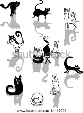 Set of funny black and white cats - stock vector