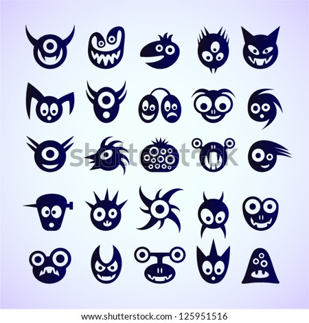 Set of funny blue monster icons. - stock vector