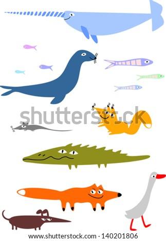 Set of funny cartoon animals - stock vector