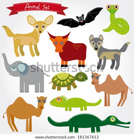 Set of funny cartoon animals character on  white background. zoo. vector  - stock vector