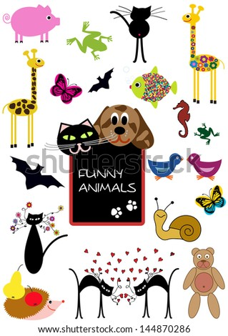 set of funny cartoon animals isolated on white background, colorful vector concept - stock vector