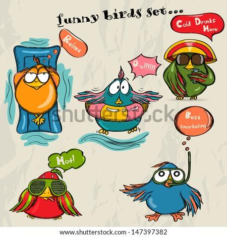Set of 5 funny cartoon birds. Vector illustration EPS8 - stock vector