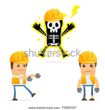 set of funny cartoon builder in various poses for use in presentations, etc. - stock vector