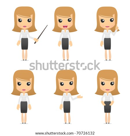 set of funny cartoon business women in various poses for use in presentations, etc. - stock vector
