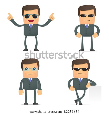 set of funny cartoon businessman in various poses for use in presentations, etc. - stock vector