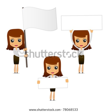 set of funny cartoon businesswoman in various poses for use in presentations, etc. - stock vector