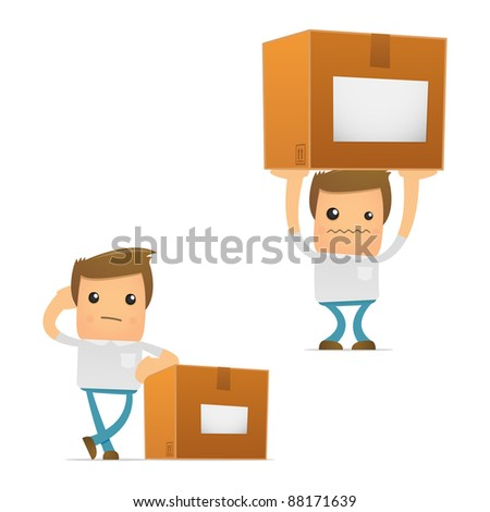 set of funny cartoon casual man in various poses for use in presentations, etc. - stock vector