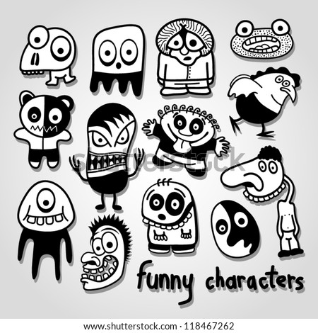Set of funny cartoon characters. - stock vector