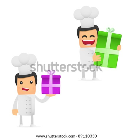 set of funny cartoon chef in various poses for use in presentations, etc.