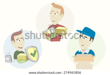 Set of funny cartoon courier sender and receiver - stock vector