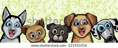 Set of funny cartoon dogs - husky, shihpoos, dalmatian, pekingese on a green background - stock vector
