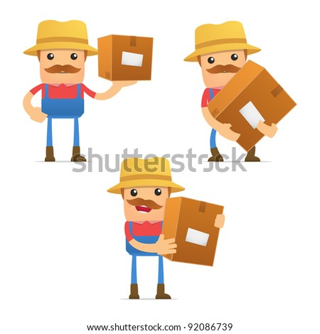 set of funny cartoon farmer in various poses for use in presentations, etc. - stock vector