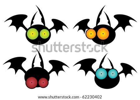 set of funny cartoon flying big-eyed bats - stock vector