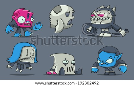 set of funny cartoon game characters for design - stock vector