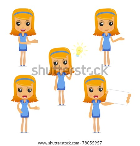 set of funny cartoon housewife in various poses for use in presentations, etc. - stock vector