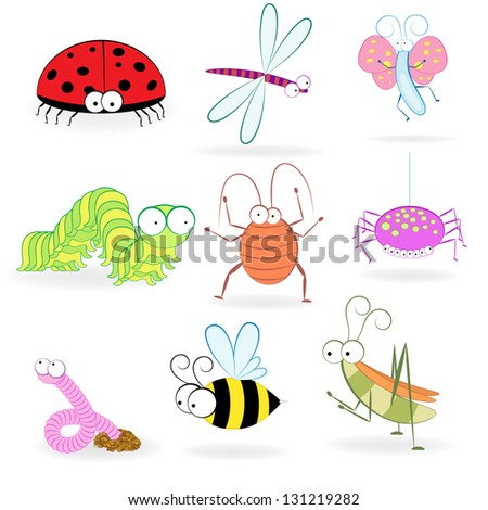 Set of funny cartoon insects. Vector illustration - stock vector