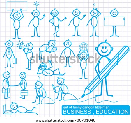 Set of funny cartoon little man with various emotion expressions.  BUSINESS and EDUCATION. - stock vector