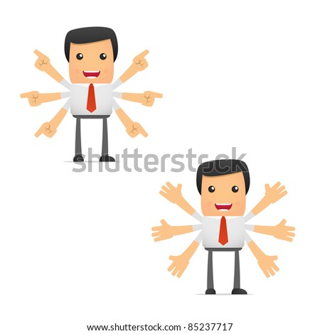 set of funny cartoon manager in various poses for use in presentations, etc.